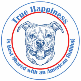 True Happiness with an American Bulldog Photo Sculpture Decoration