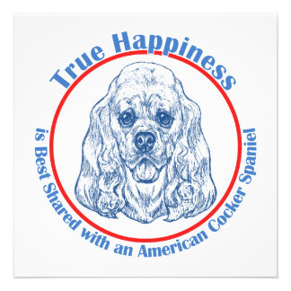 True Happiness with an American Cocker Spaniel Personalized Invitations