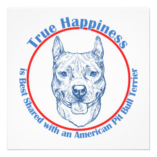 True Happiness with an American Pit Bull Terrier Custom Announcements