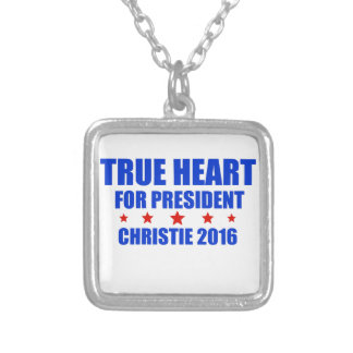 True Heart for President Chris Christie 2016 Square Pendant Necklace
