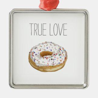 True Love Artsy Cutout Iced Ring Doughnut Christmas Ornament