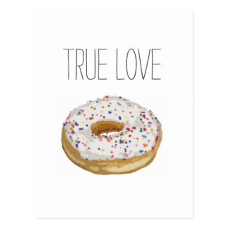 True Love Artsy Cutout Iced Ring Doughnut Postcard