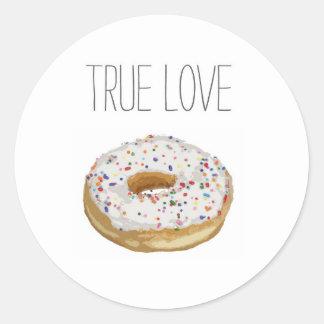 True Love Artsy Cutout Iced Ring Doughnut Round Sticker
