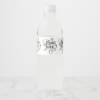 True Love Black & White Typography Wedding Bridal Water Bottle Label