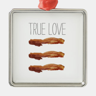 True Love Cut Out Streaky Bacon Artsy Silver-Colored Square Decoration