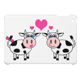 True Love - Cute Cows and Hearts Cartoon iPad Mini Covers