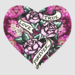 True Love Forever Rockabilly Roses pattern. Heart Sticker