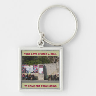 True love invites a soul to come out from hiding Silver-Colored square key ring