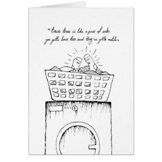 """true love is like a pair of socks"" greeting card"
