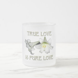 True Love is Pure Love (White Easter Lilies) Frosted Glass Coffee Mug