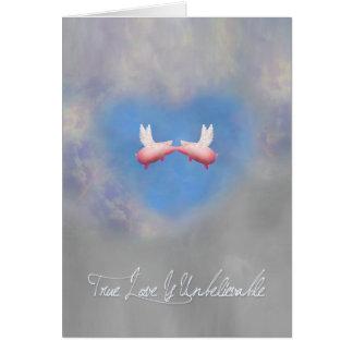 True Love is Unbelievable-Flying pigs in love Greeting Card