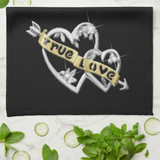 True Love Joined Hearts Kitchen Towel