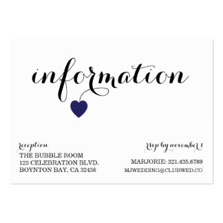 true love MODERN WEDDING info card NAVY YELLOW Pack Of Chubby Business Cards