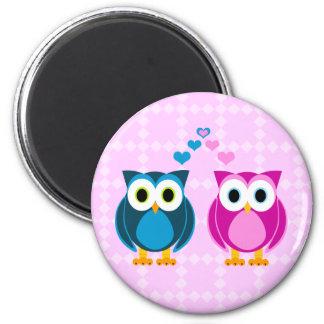 True Love - Owl Cartoon 6 Cm Round Magnet
