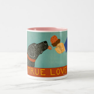 True Love-Pink Mug-Stephen Huneck Two-Tone Coffee Mug