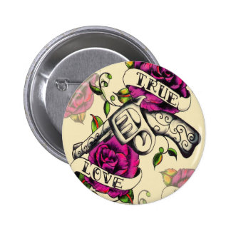 True Love Pistol and Roses artwork, pink & yellow 6 Cm Round Badge