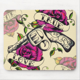 True Love Pistol and Roses artwork, pink & yellow Mouse Mat