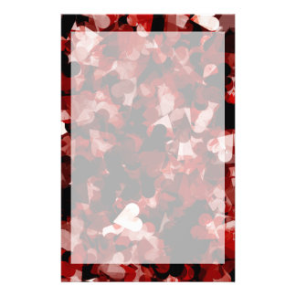 True Love Red Hearts Emotion with Black Pink Color Custom Stationery