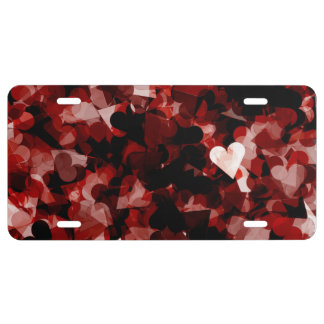 True Love Red Hearts Emotion with Black Pink Color License Plate