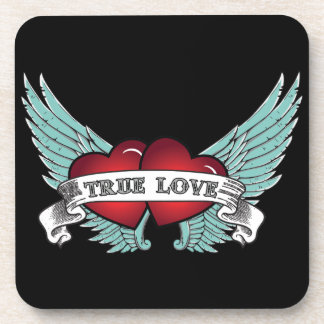 True Love Rockabilly Winged Heart Drink Coasters