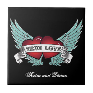 True Love Rockabilly Winged Heart Small Square Tile