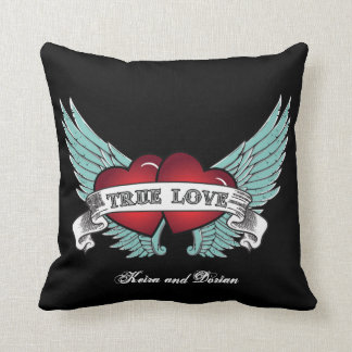 True Love Rockabilly Winged Heart Throw Pillow