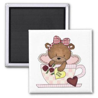 True Love Teddy Bears Square Magnet