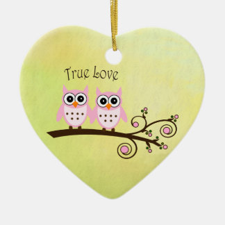 True Love Twin Owls on Tree Branch Heart Ornament