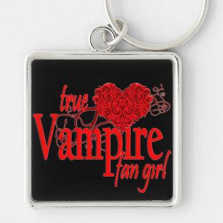 True vampire fan girl Silver-Colored square key ring