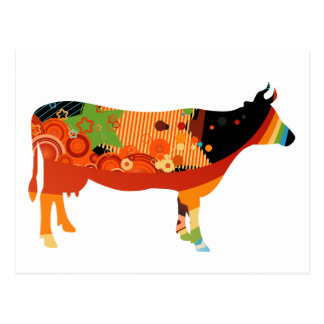 Truly Amoozing MEaty Colored Cows Postcard