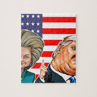 Trump and Hillary Caricature Jigsaw Puzzle