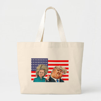 Trump and Hillary Caricature Large Tote Bag