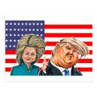 Trump and Hillary Caricature Postcard