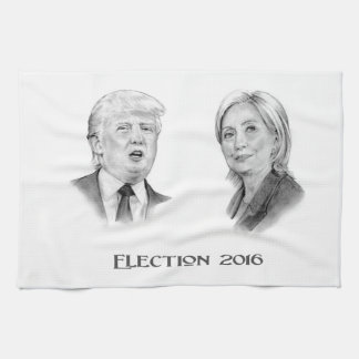 Trump and Hillary Pencil Portraits, Election 2016 Hand Towel