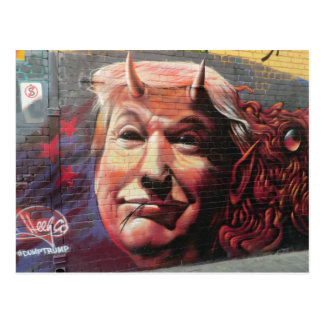 Trump as Fork-Tongued Devil Graffiti Wall Art Postcard