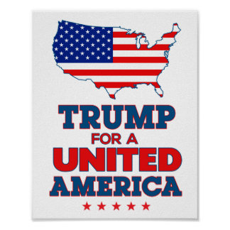 Trump for a United America Poster with flag