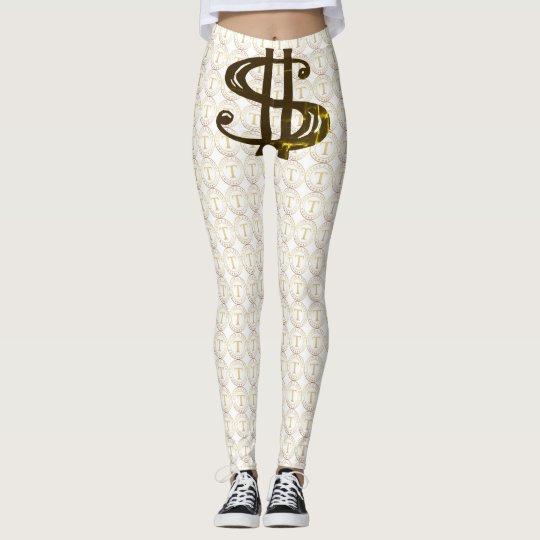 TRUMP Gold coin logo tights, w/ money sign... Leggings