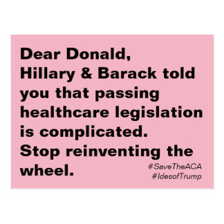 Trump Health Care is Complicated Resistance Postcard