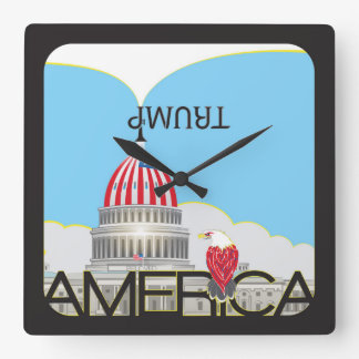 TRUMP Trumpet & US Capitol - day version Square Wall Clock