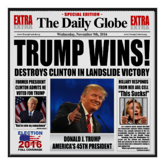 Trump Wins! Funny Anti Clinton Poster Extra Large