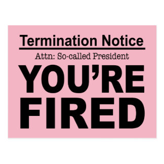 Trump You're Fired Pink Slip Postcard