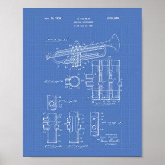 Trumpet 1939 Patent Art Blueprint Poster