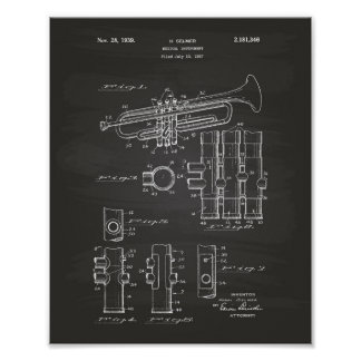 Trumpet 1939 Patent Art Chalkboard Poster