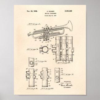 Trumpet 1939 Patent Art Old Peper Poster