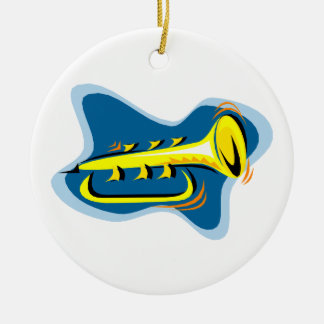 Trumpet Abstract Design Yellow with blue Round Ceramic Decoration