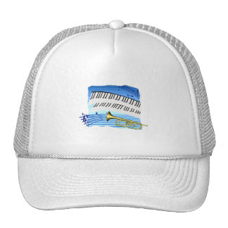 Trumpet and Keyboard, blue theme graphic music Mesh Hat