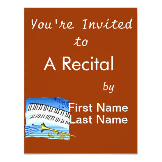 Trumpet and Keyboard, blue theme graphic music Personalized Invitation