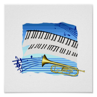 Trumpet and Keyboard, blue theme graphic music Poster