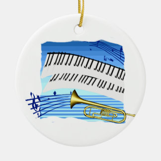 Trumpet and Keyboard, blue theme graphic music Round Ceramic Decoration