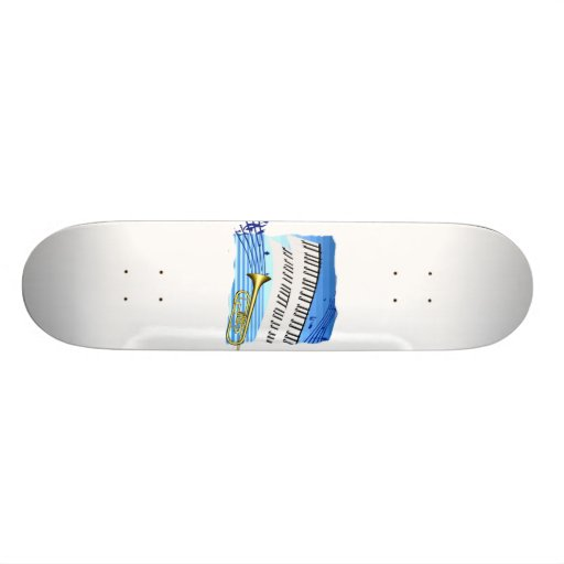 Trumpet and Keyboard, blue theme graphic music Skateboard Deck